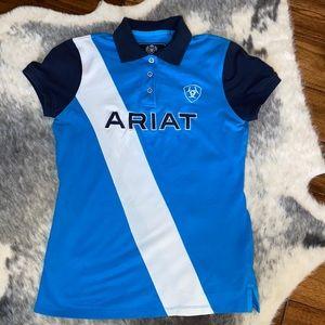 Ariat Blue & Navy Riding Polo Shirt M